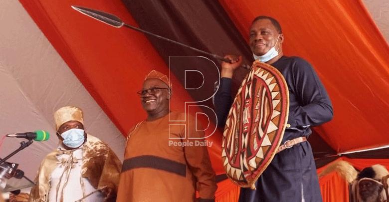 National Assembly Speaker Justin Muturi after his coronation as Mt Kenya spokesperson in May at the Mukurwe wa Nyagathanga shrine.